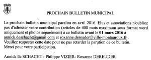 prochain bulletin Municipal